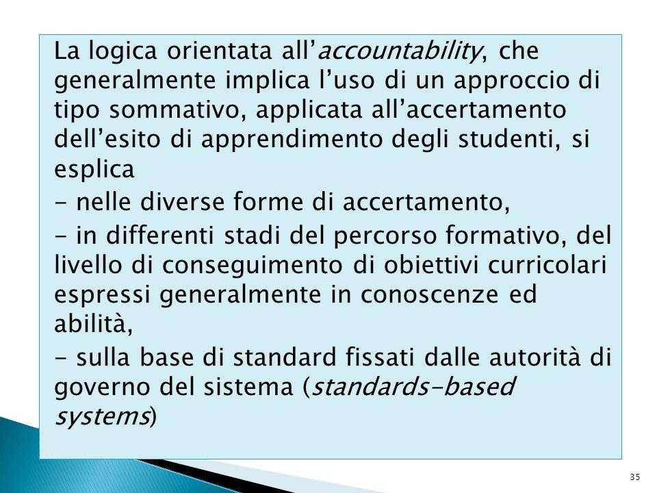 La logica orientata all'accountability, che generalmente implica l'uso di un approccio di tipo sommativo, applicata all'accertamento dell'esito di apprendimento degli studenti, si esplica - nelle diverse forme di accertamento, - in differenti stadi del percorso formativo, del livello di conseguimento di obiettivi curricolari espressi generalmente in conoscenze ed abilità, - sulla base di standard fissati dalle autorità di governo del sistema (standards-based systems)
