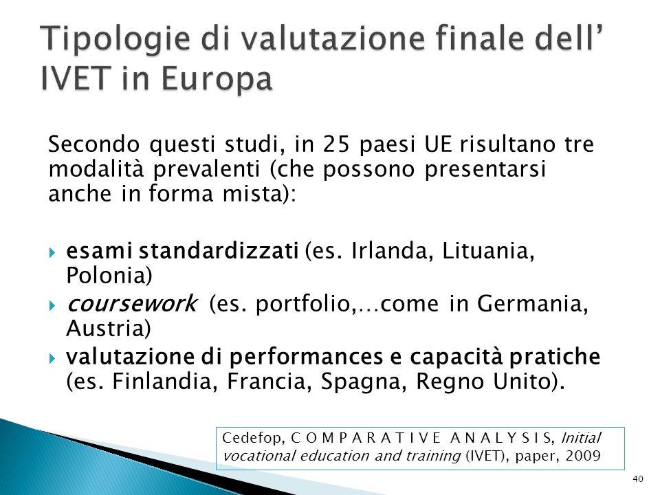 Tipologie di valutazione finale dell' IVET in Europa