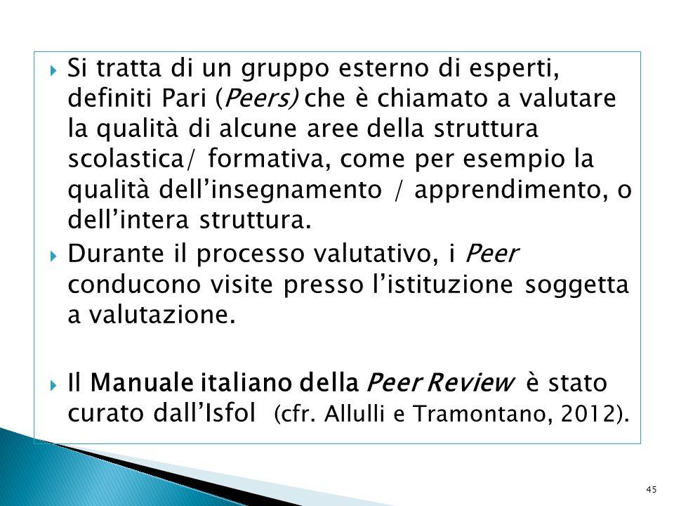 Si tratta di un gruppo esterno di esperti, definiti Pari (Peers) che è chiamato a valutare la qualità di alcune aree della struttura scolastica/ formativa, come per esempio la qualità dell'insegnamento / apprendimento, o dell'intera struttura.