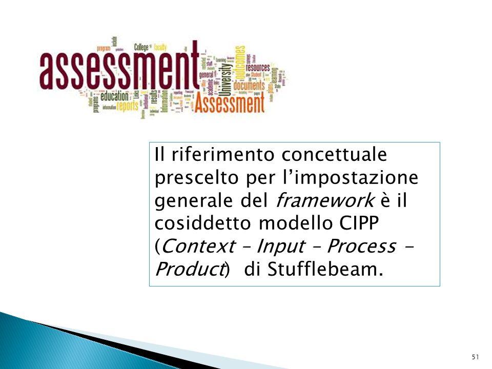 Il riferimento concettuale prescelto per l'impostazione generale del framework è il cosiddetto modello CIPP (Context – Input – Process - Product) di Stufflebeam.