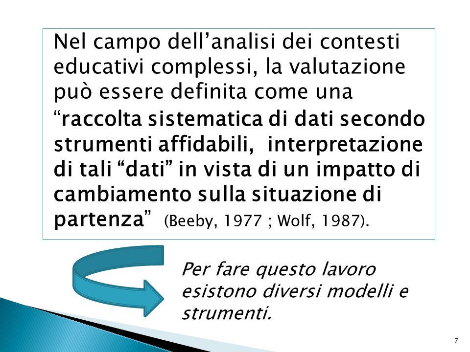 Nel campo dell'analisi dei contesti educativi complessi, la valutazione può essere definita come una