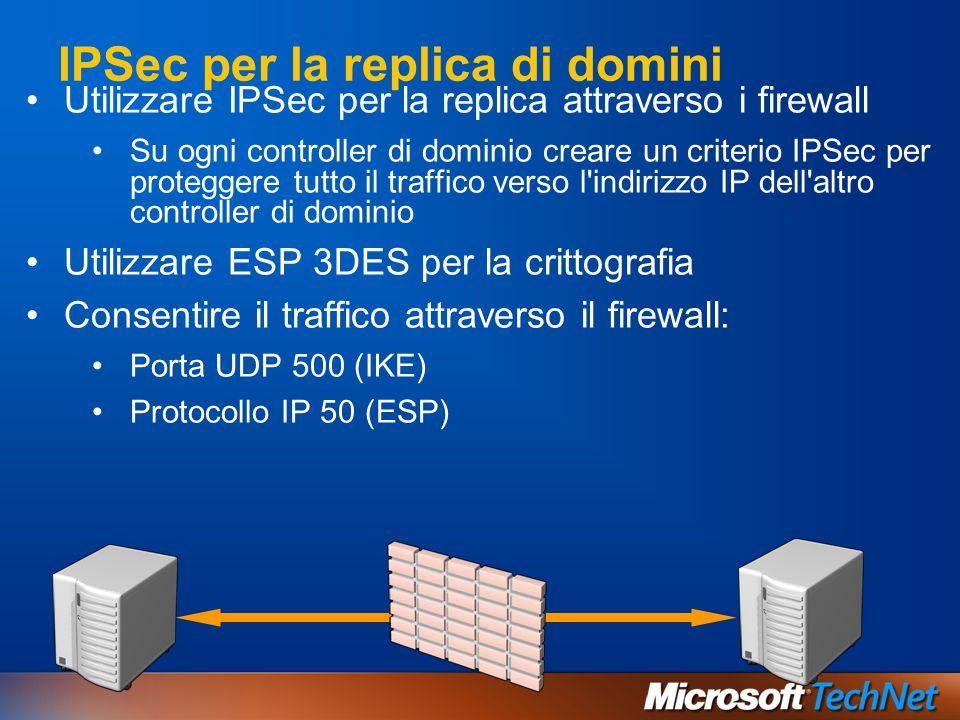 IPSec per la replica di domini