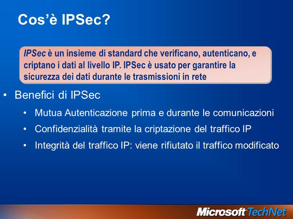 Cos'è IPSec Benefici di IPSec