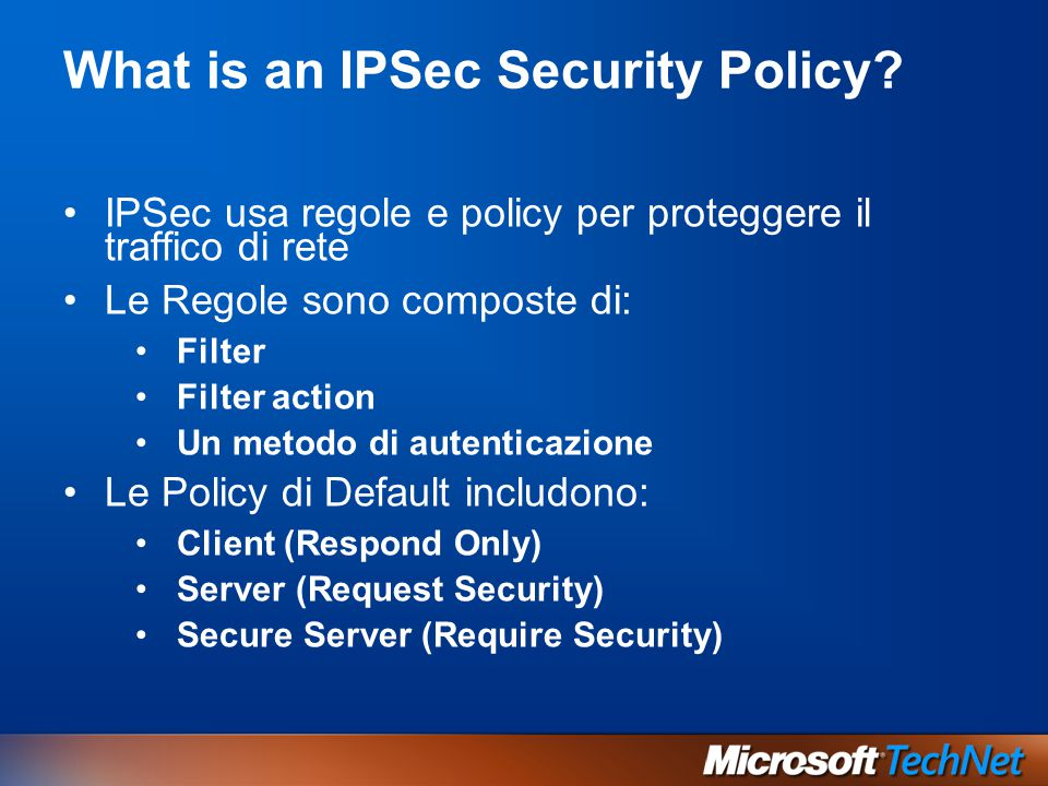 What is an IPSec Security Policy