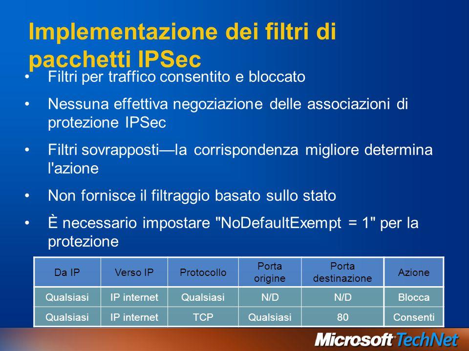 Implementazione dei filtri di pacchetti IPSec