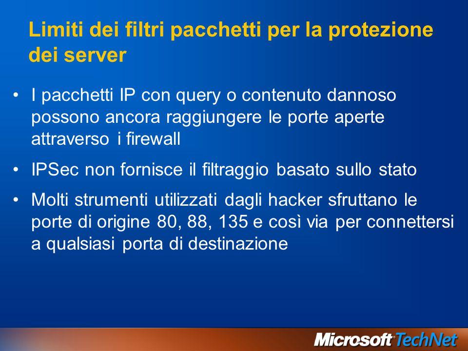 Limiti dei filtri pacchetti per la protezione dei server