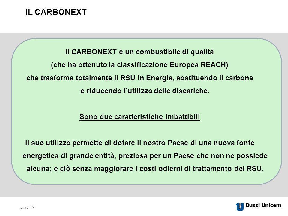 IL CARBONEXT Il CARBONEXT è un combustibile di qualità
