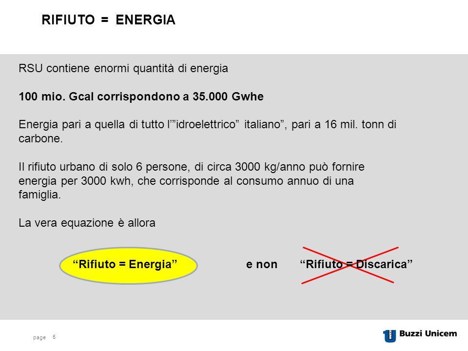 RIFIUTO = ENERGIA RSU contiene enormi quantità di energia