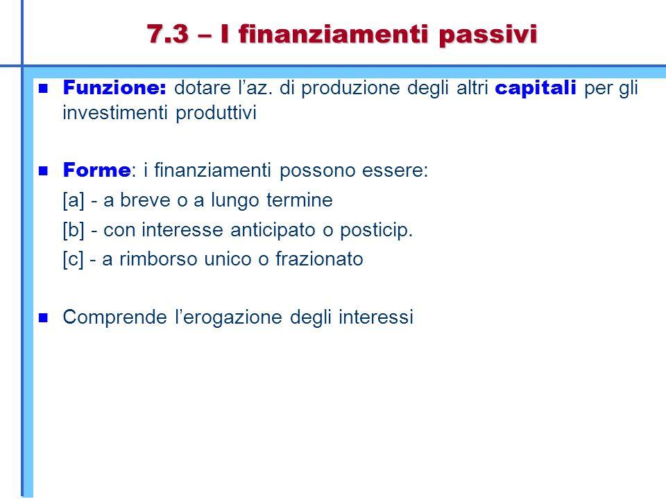 7.3 – I finanziamenti passivi