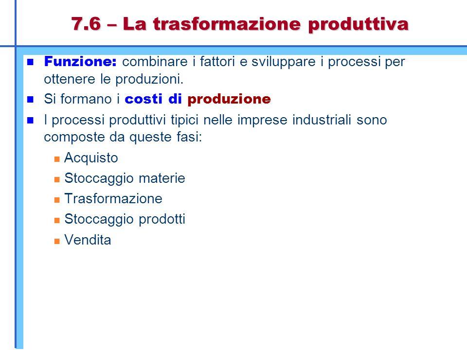 7.6 – La trasformazione produttiva