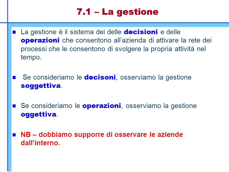 7.1 – La gestione