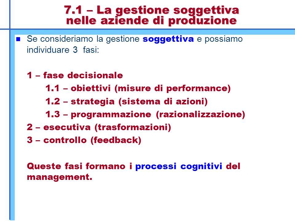 7.1 – La gestione soggettiva nelle aziende di produzione