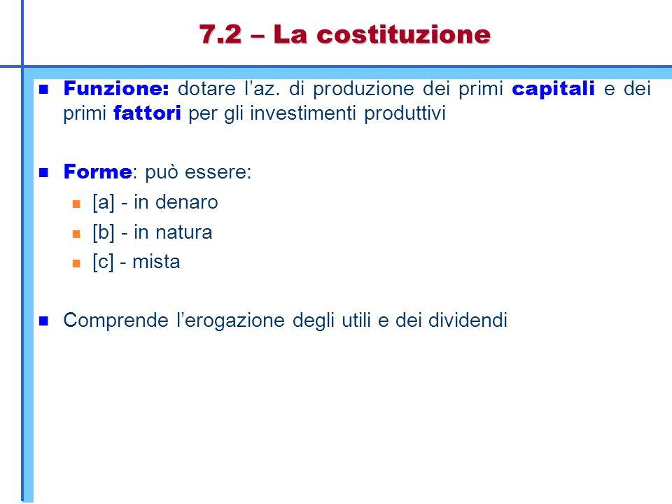 7.2 – La costituzione Funzione: dotare l'az. di produzione dei primi capitali e dei primi fattori per gli investimenti produttivi.