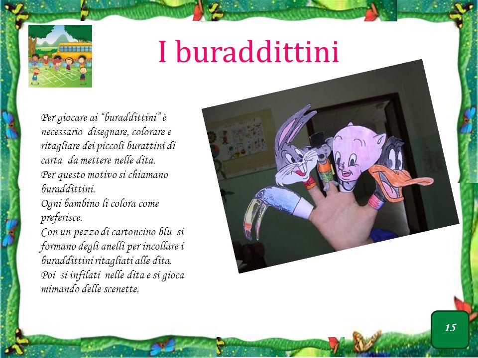 I buraddittini Per giocare ai buraddittini è necessario disegnare, colorare e ritagliare dei piccoli burattini di carta da mettere nelle dita.
