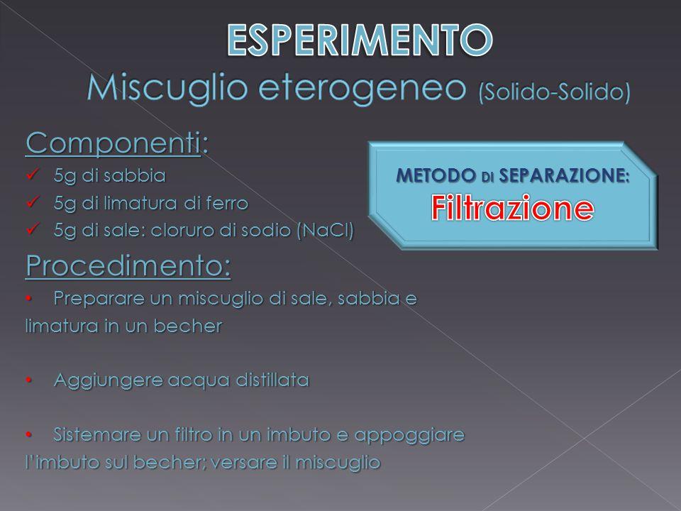 ESPERIMENTO Miscuglio eterogeneo (Solido-Solido)