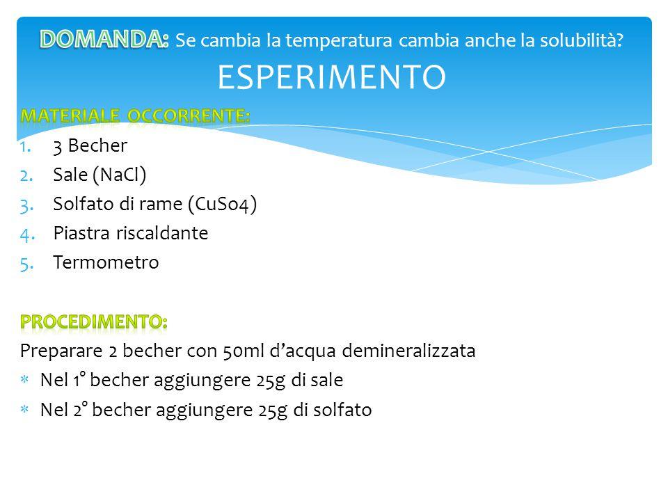 DOMANDA: Se cambia la temperatura cambia anche la solubilità