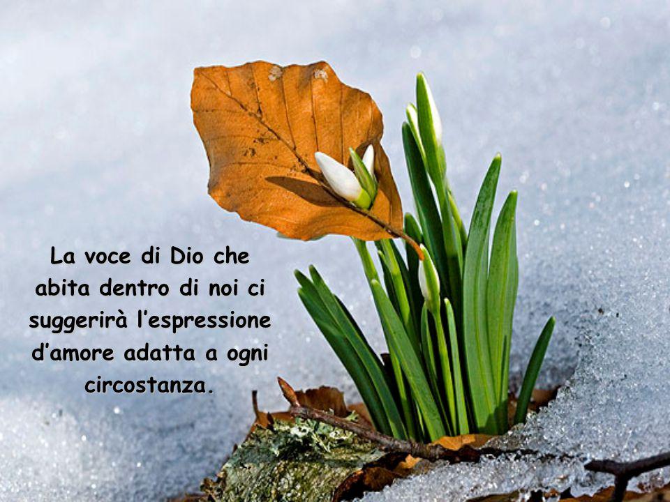 La voce di Dio che abita dentro di noi ci suggerirà l'espressione d'amore adatta a ogni circostanza.