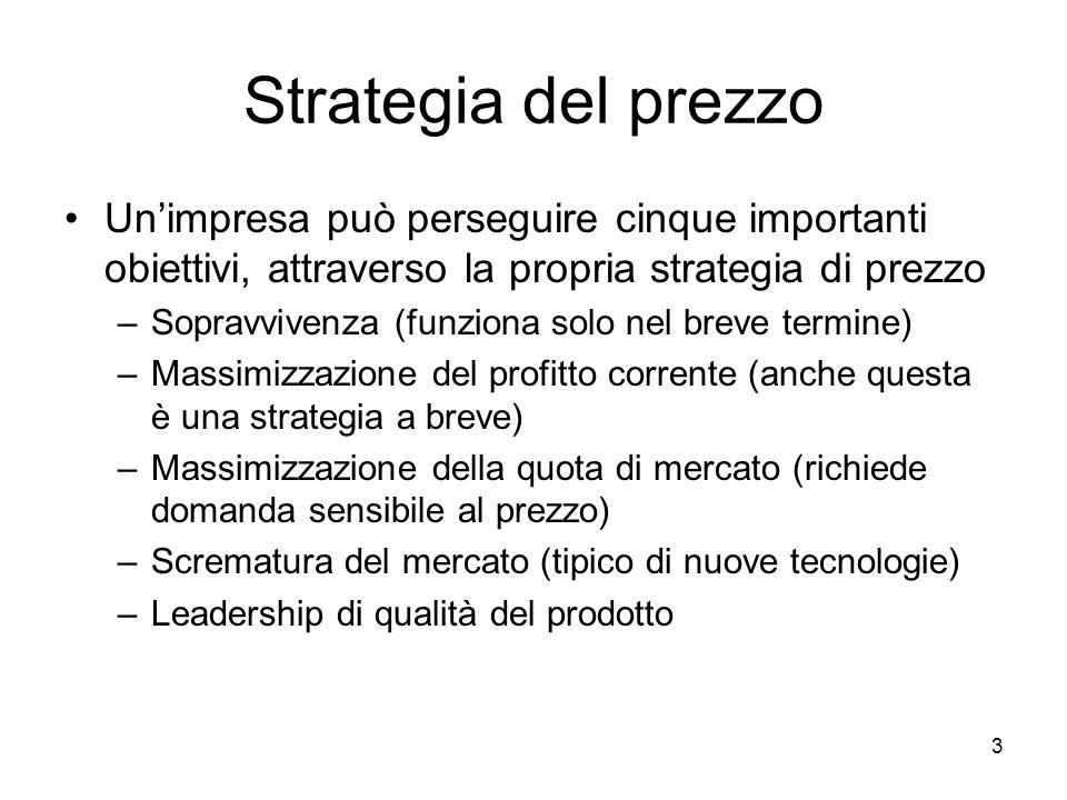 Strategia del prezzo Un'impresa può perseguire cinque importanti obiettivi, attraverso la propria strategia di prezzo.