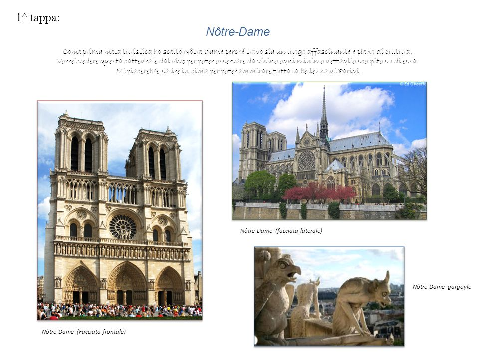 1^ tappa: Nôtre-Dame. Come prima meta turistica ho scelto Nôtre-Dame perché trovo sia un luogo affascinante e pieno di cultura.