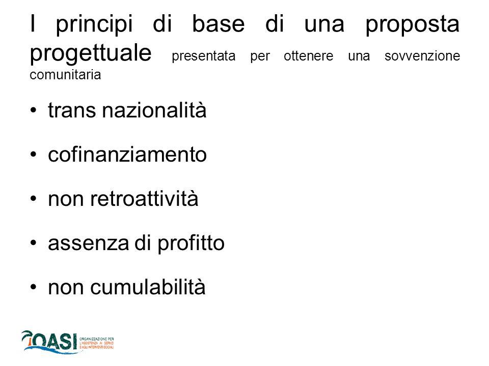 I principi di base di una proposta progettuale presentata per ottenere una sovvenzione comunitaria