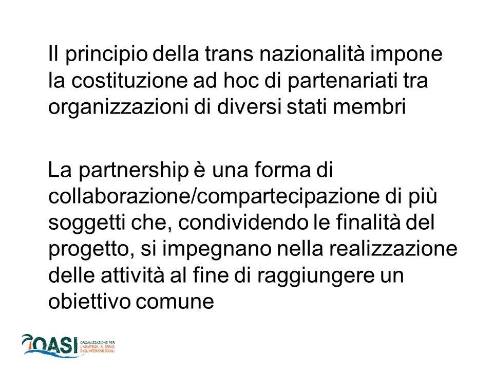 Il principio della trans nazionalità impone la costituzione ad hoc di partenariati tra organizzazioni di diversi stati membri