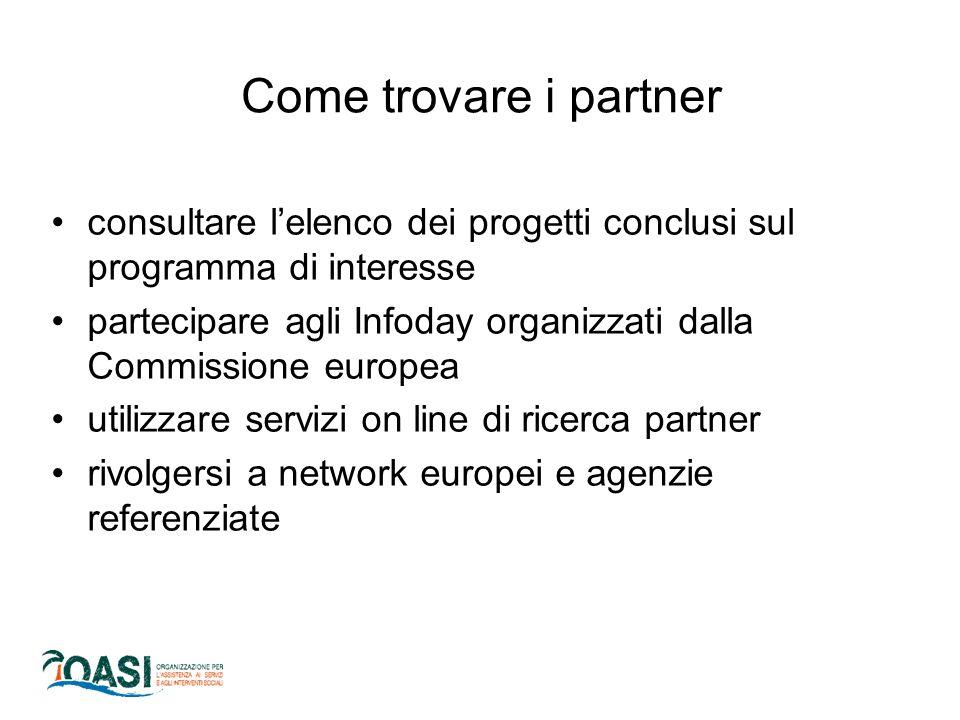 Come trovare i partner consultare l'elenco dei progetti conclusi sul programma di interesse.