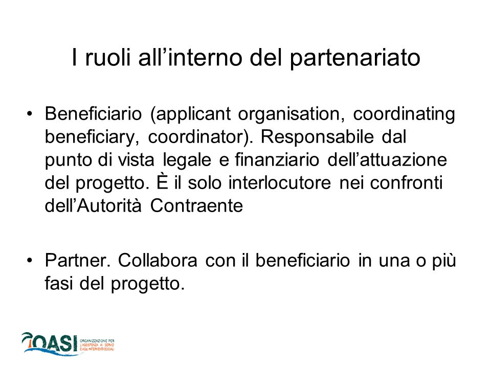 I ruoli all'interno del partenariato