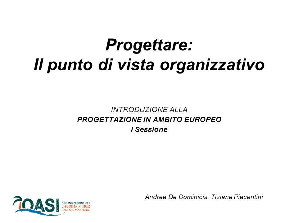 Progettare: Il punto di vista organizzativo