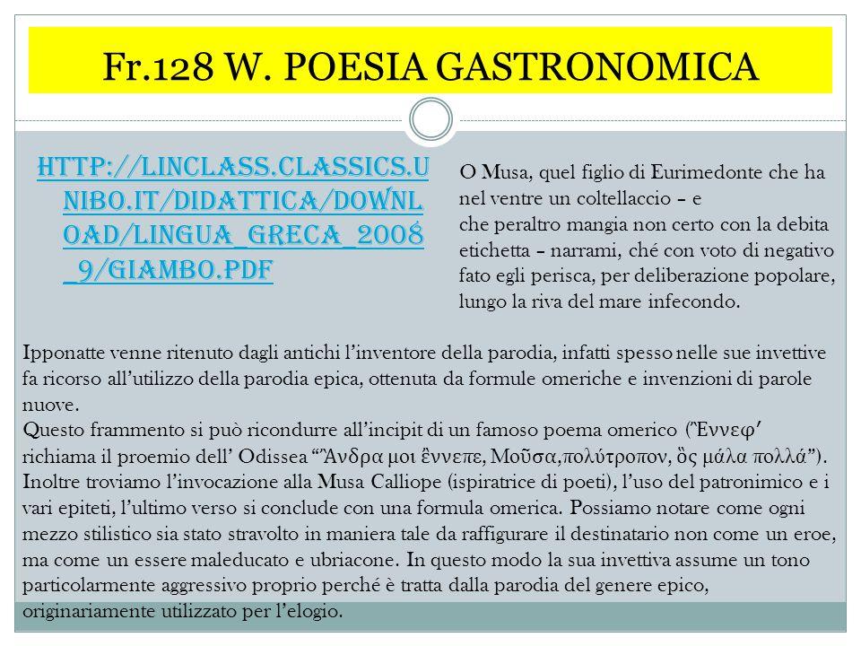 Fr.128 W. POESIA GASTRONOMICA