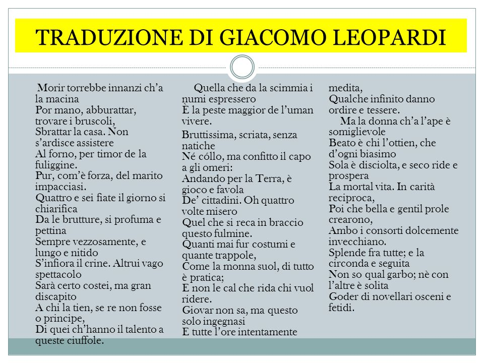 TRADUZIONE DI GIACOMO LEOPARDI