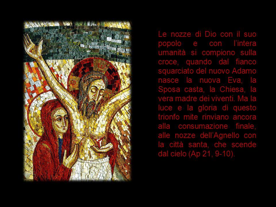 Le nozze di Dio con il suo popolo e con l'intera umanità si compiono sulla croce, quando dal fianco squarciato del nuovo Adamo nasce la nuova Eva, la Sposa casta, la Chiesa, la vera madre dei viventi.