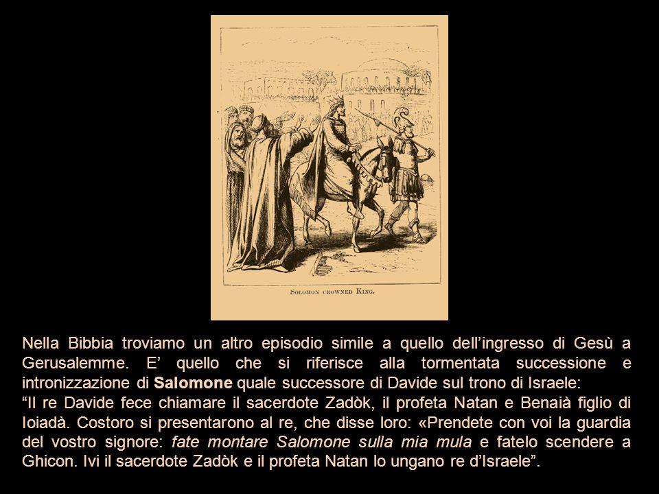 Nella Bibbia troviamo un altro episodio simile a quello dell'ingresso di Gesù a Gerusalemme. E' quello che si riferisce alla tormentata successione e intronizzazione di Salomone quale successore di Davide sul trono di Israele: