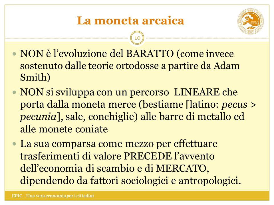 La moneta arcaica NON è l'evoluzione del BARATTO (come invece sostenuto dalle teorie ortodosse a partire da Adam Smith)