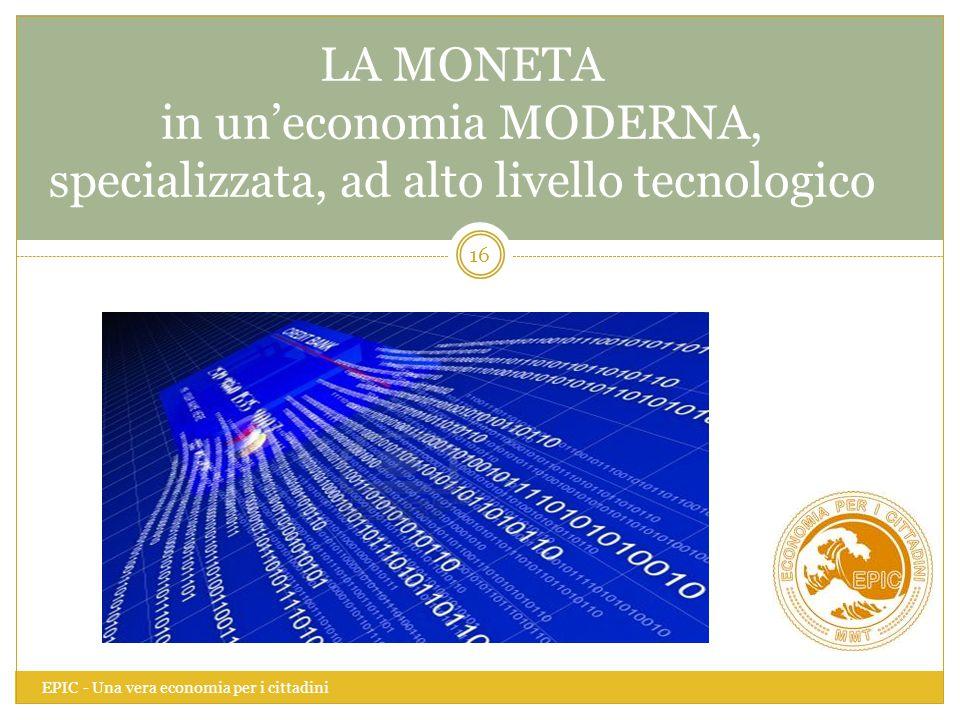 LA MONETA in un'economia MODERNA, specializzata, ad alto livello tecnologico