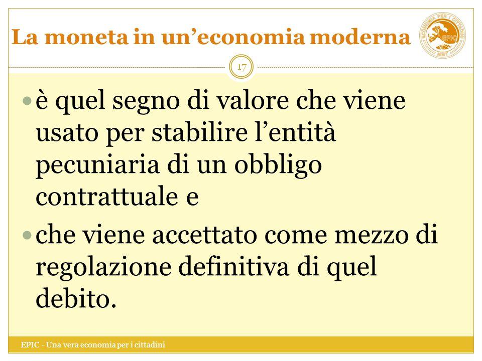 La moneta in un'economia moderna