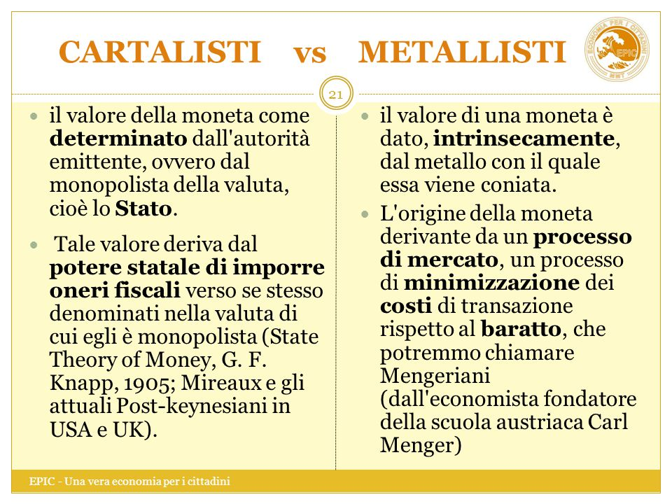 CARTALISTI vs METALLISTI