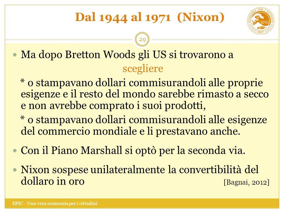 Dal 1944 al 1971 (Nixon) Ma dopo Bretton Woods gli US si trovarono a