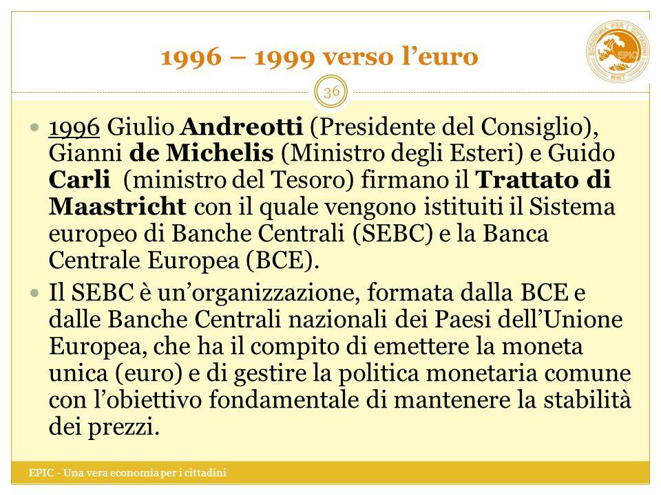 1996 – 1999 verso l'euro