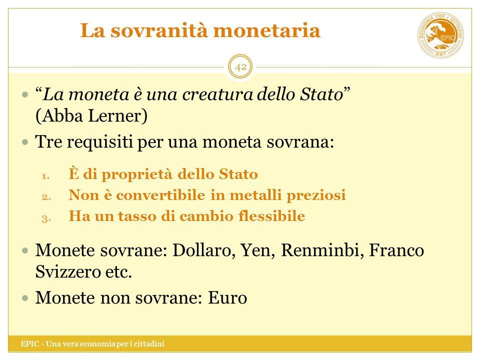La sovranità monetaria