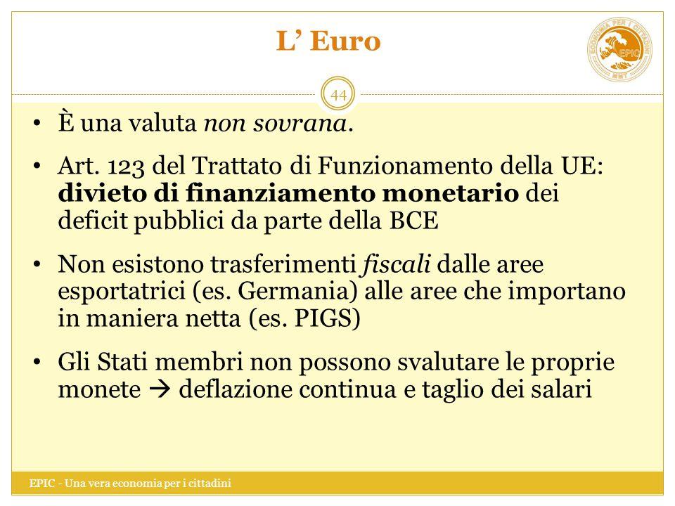 L' Euro È una valuta non sovrana.