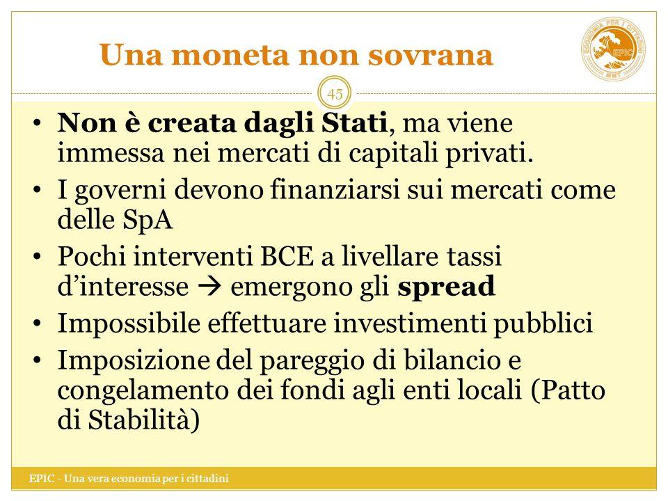 Una moneta non sovrana Non è creata dagli Stati, ma viene immessa nei mercati di capitali privati.