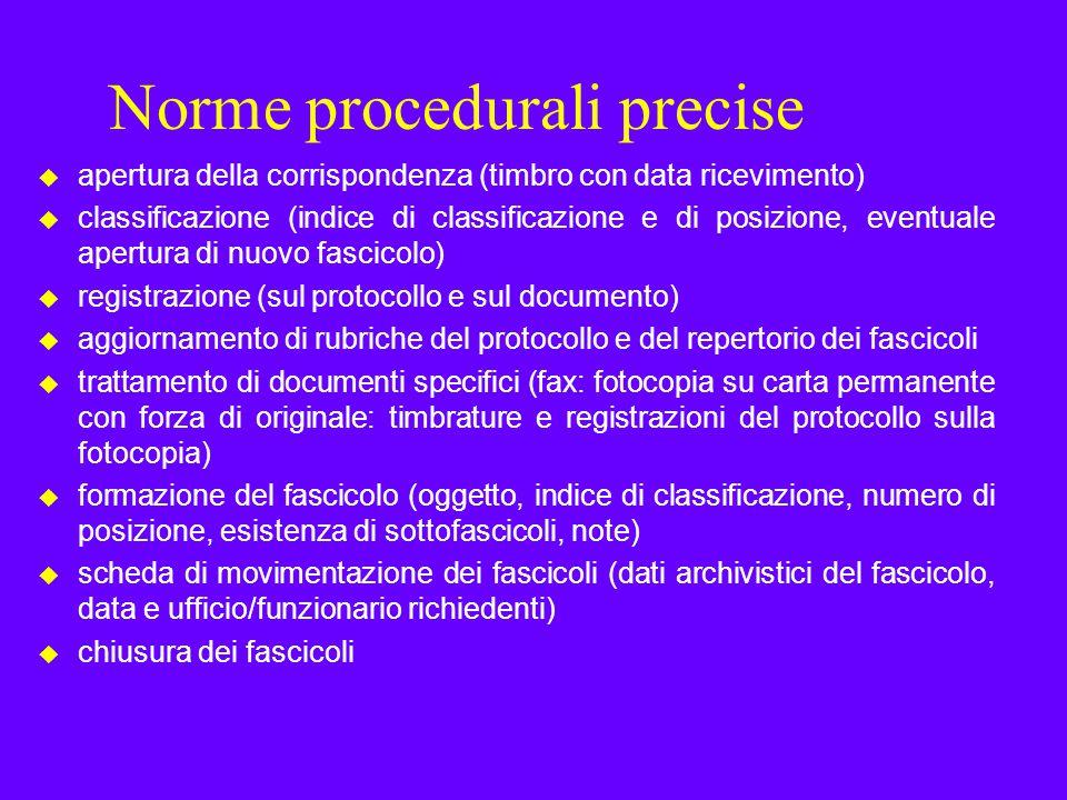 Norme procedurali precise