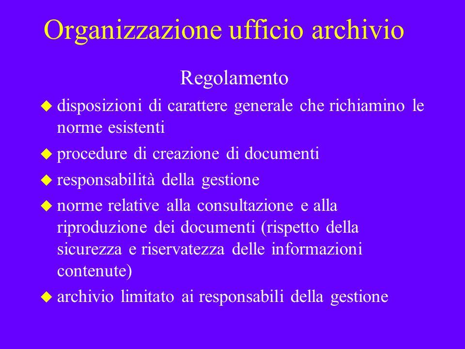 Organizzazione ufficio archivio