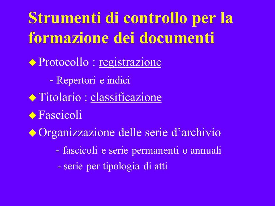 Strumenti di controllo per la formazione dei documenti