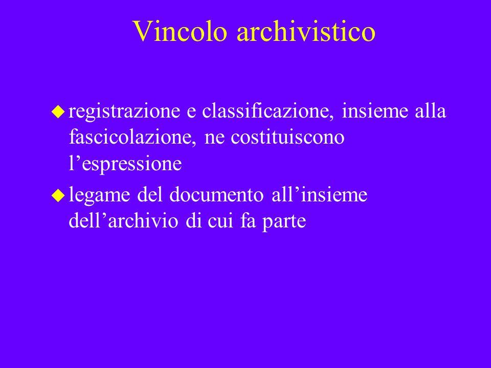 Vincolo archivistico registrazione e classificazione, insieme alla fascicolazione, ne costituiscono l'espressione.
