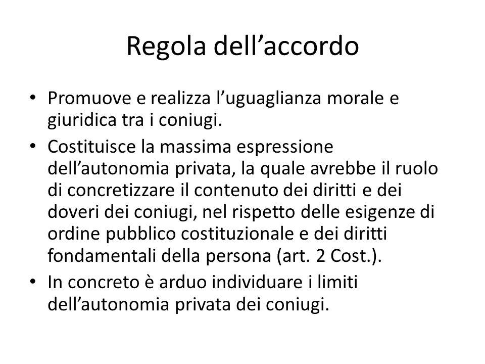 Regola dell'accordo Promuove e realizza l'uguaglianza morale e giuridica tra i coniugi.