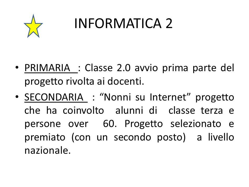 INFORMATICA 2 PRIMARIA : Classe 2.0 avvio prima parte del progetto rivolta ai docenti.