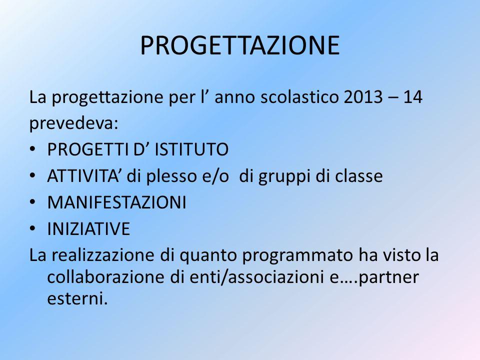PROGETTAZIONE La progettazione per l' anno scolastico 2013 – 14