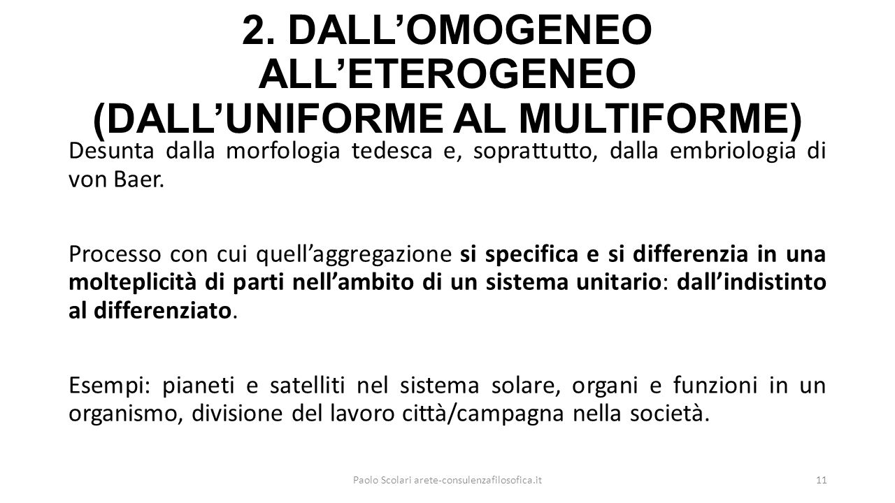 2. DALL'OMOGENEO ALL'ETEROGENEO (DALL'UNIFORME AL MULTIFORME)
