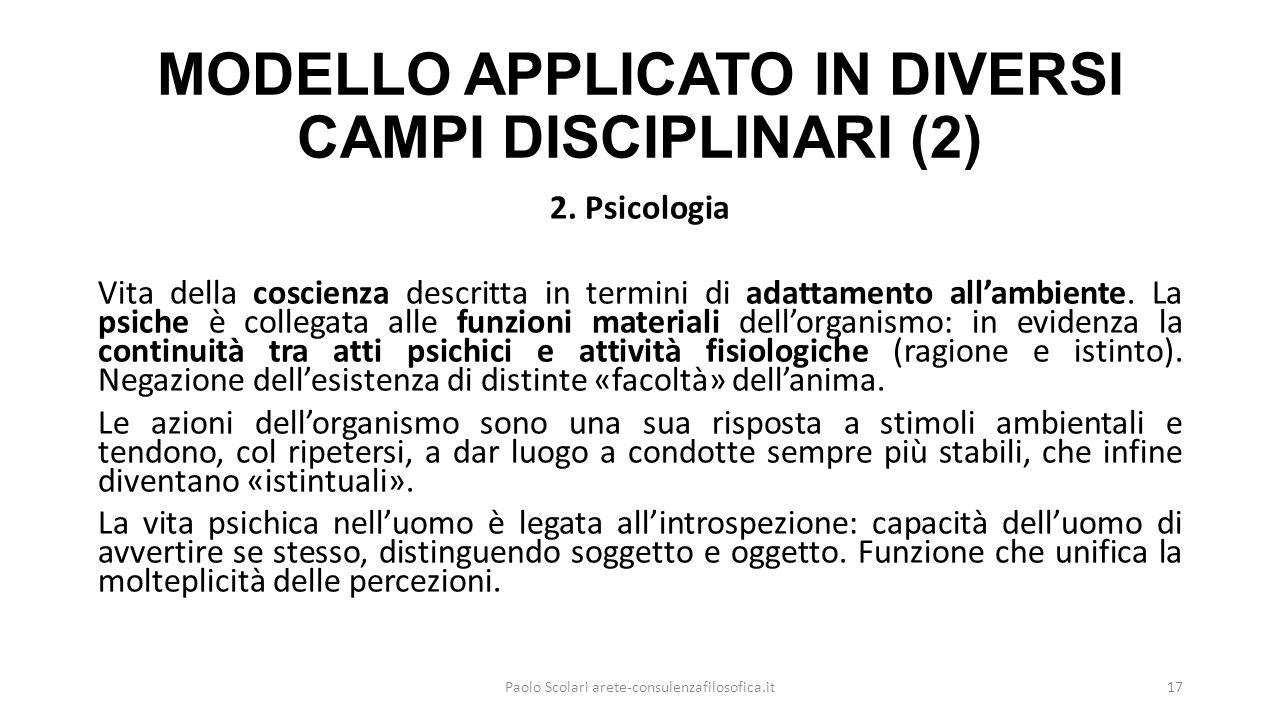 MODELLO APPLICATO IN DIVERSI CAMPI DISCIPLINARI (2)